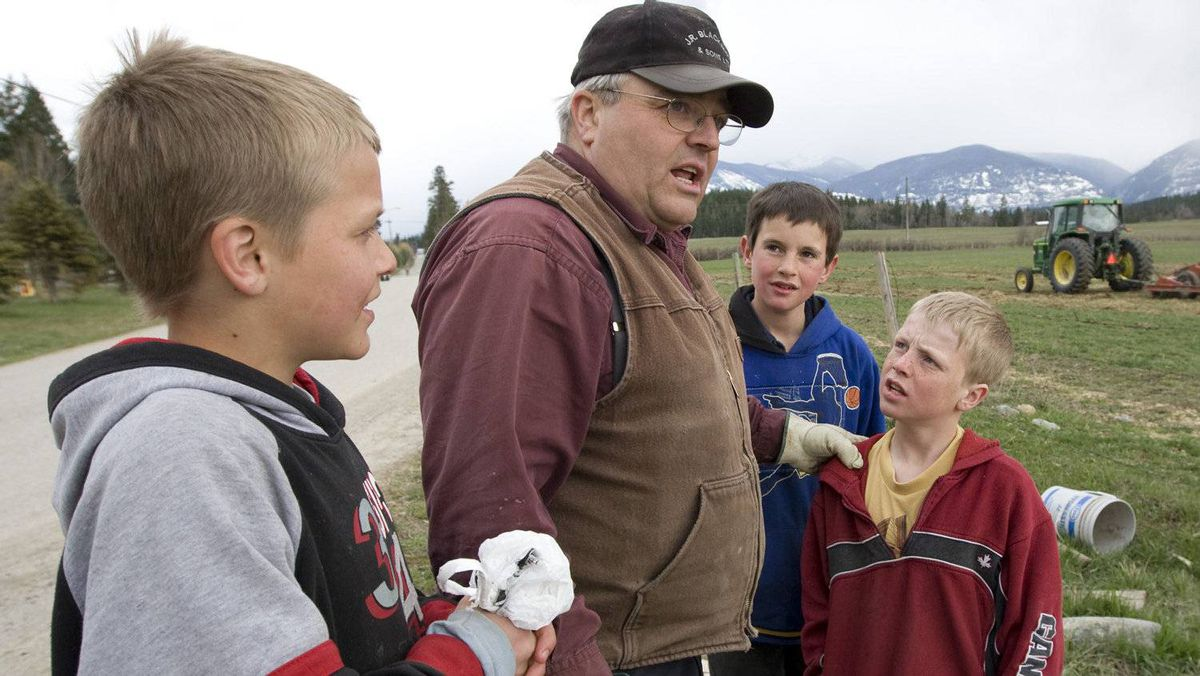 Winston Blackmore the religious leader of the polygamous community of Bountiful located near Creston, B.C. speaks with some of his children Monday, April 21, 2008 near Creston, B.C.
