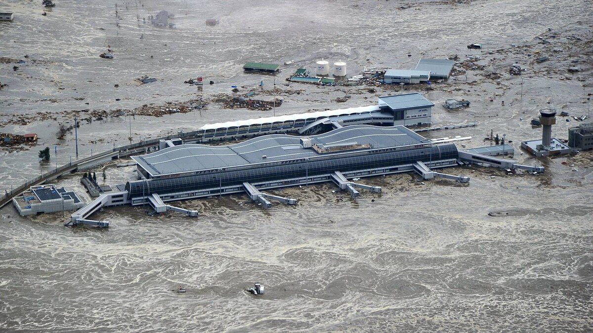 Sendai Airport is surrounded by waters in Miyagi prefecture, Japan, after a ferocious tsunami spawned by one of the largest earthquakes ever recorded slammed Japan's eastern coast Friday, March 11, 2011.
