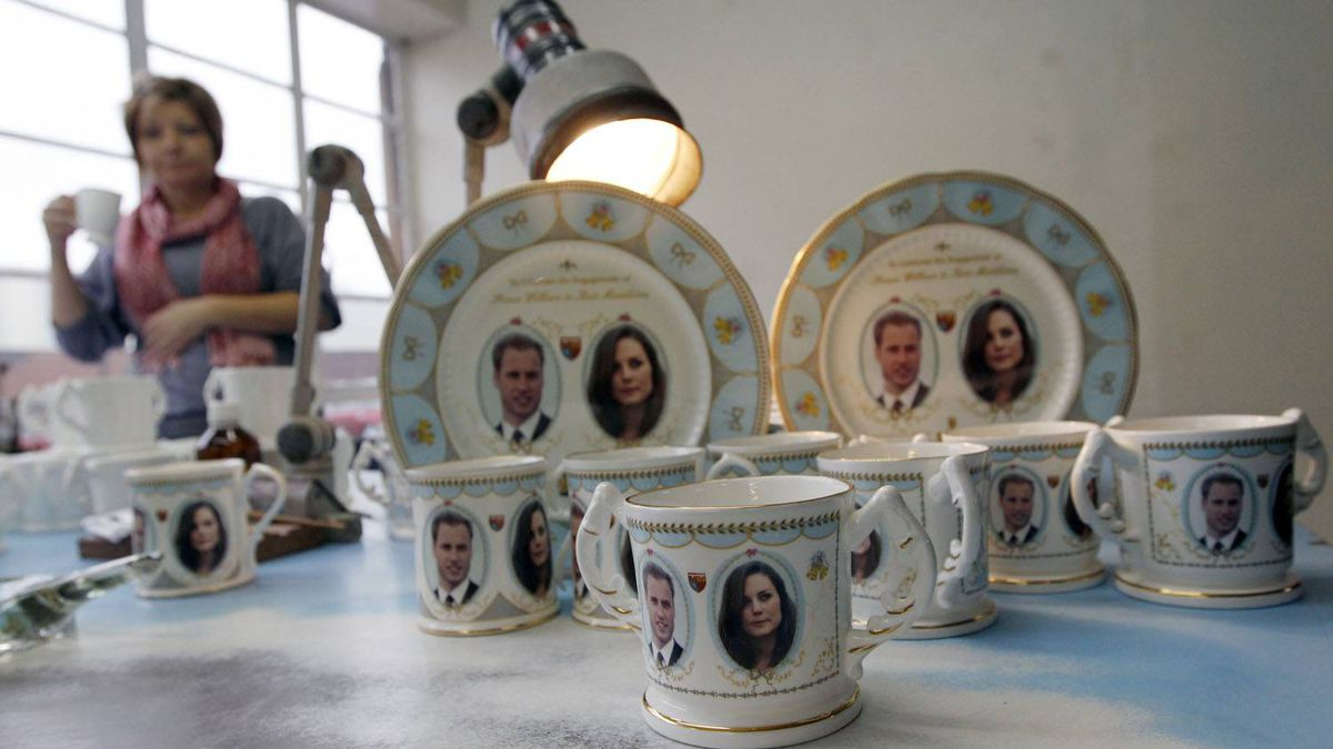 The full collection of souvenir mugs and plates, made to mark the engagement between Britain's Prince William and Kate Middleton, at Aynsley China in central England.