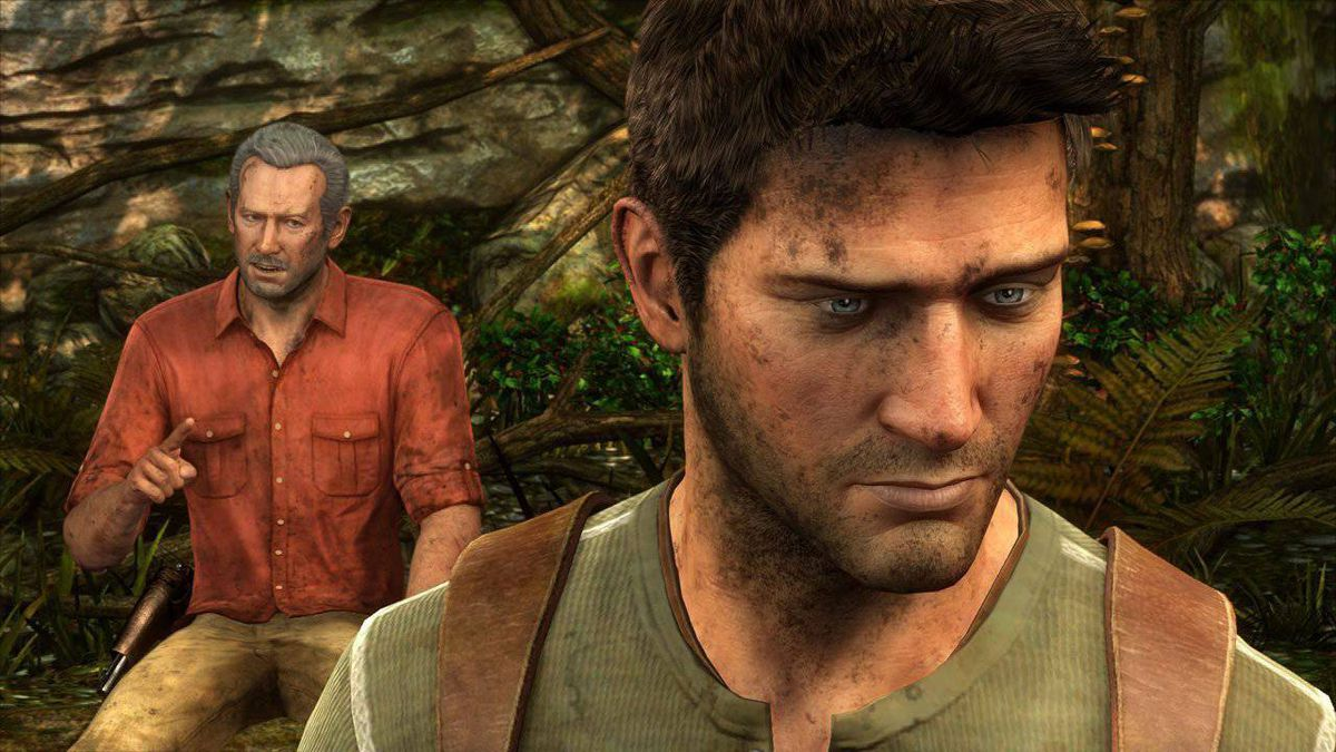 In this video game image released by Sony Computer Entertainment Inc., treasure hunter Nathan Drake, voiced by Nolan North, is shown in the foreground of a scene from 'Uncharted 3: Drake's Deception.'