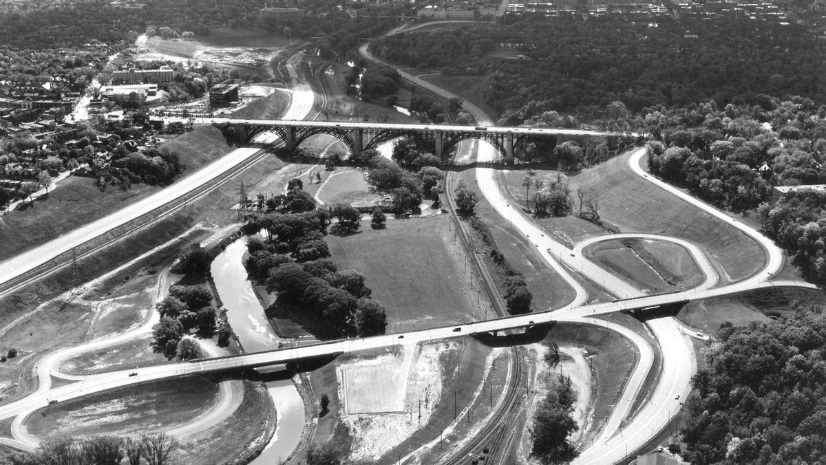 Aerial view of the Don Valley looking south in October, 1962, with the Prince Edward Viaduct at the top of the photo.