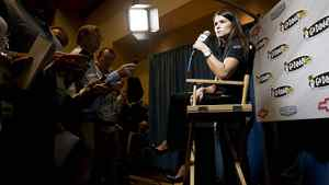 Driver Danica Patrick at a NASCAR Media Tour in Concord, North Carolina January 23, 2012.