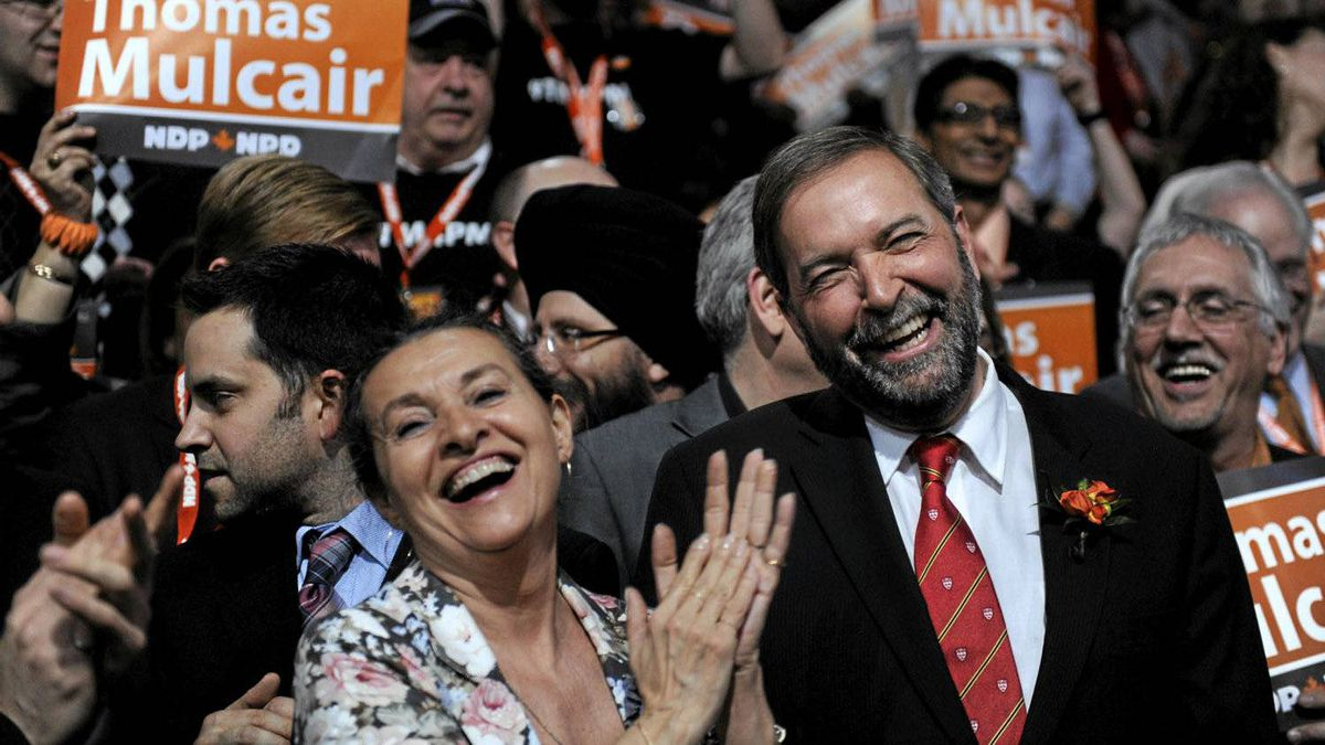 NDP leadership candidate Thomas Mulcair received 43.8 per cent of the third ballot votes. Mulcair's wife Catherine Pinhas is on his right.