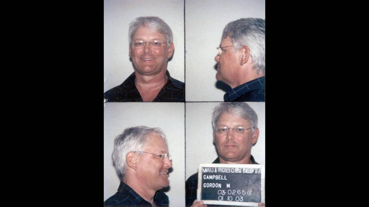 B.C. Premier Gordon Campbell is shown in these Maui police booking handout photos on Friday Jan. 10, 2003 after being arrested for impaired driving.