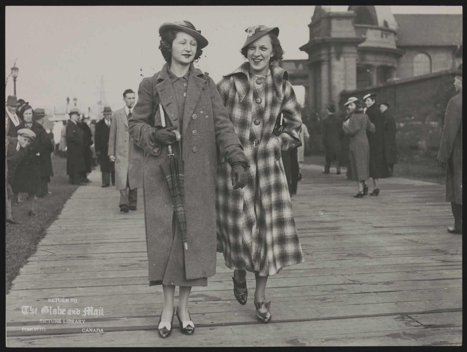 EASTER FASHION PARADE Two unidentified young ladies on Sunnyside Boardwalk Easter 1936
