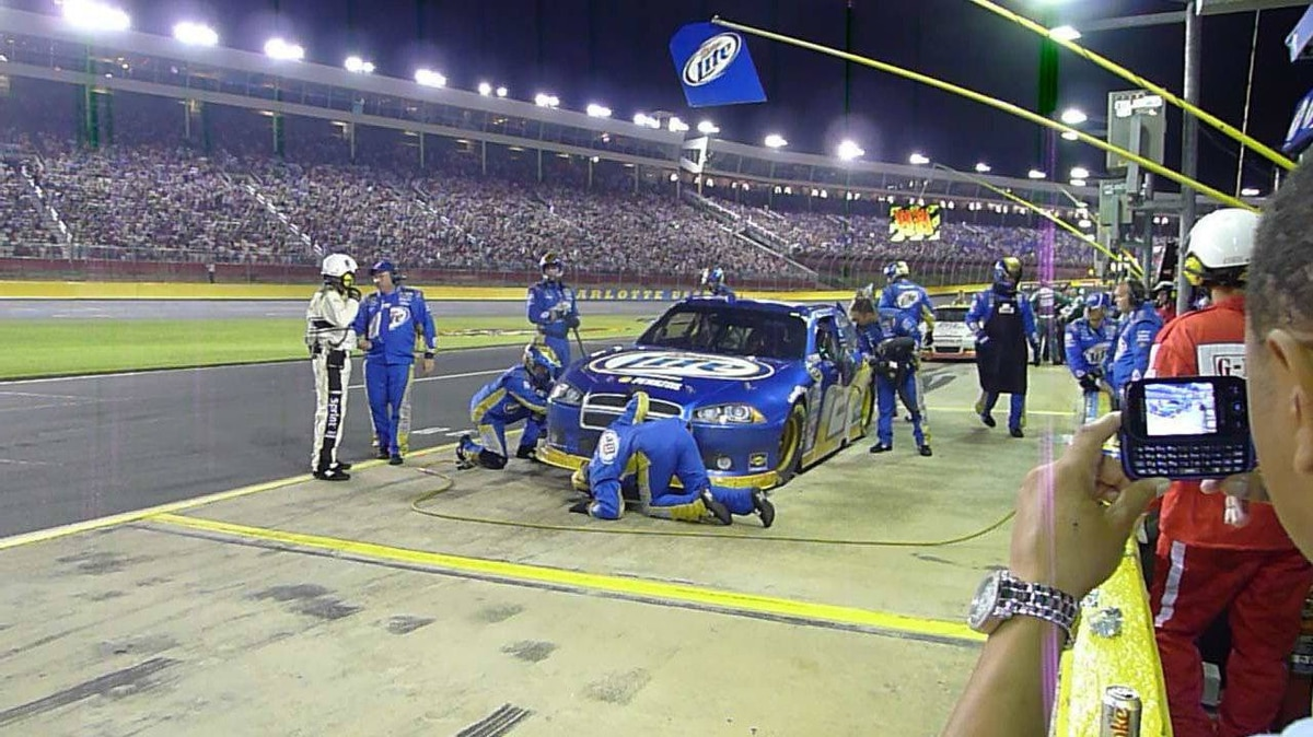 In the pits at the 2011 NASCAR All-Star race at Charlotte Motor Speedway. The stadium has seating for 140,000 spectators.