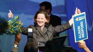 Alberta Progressive Conservative Alison Redford celebrates becoming leader of the party and the new premier following the second ballot in the party's leadership race in Edmonton, Alta., Saturday, Oct. 1, 2011.