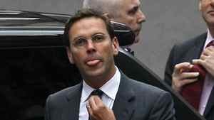 James Murdoch arrives at the Levenson media inquiry to give evidence at the High Court in London, Tuesday, April, 24, 2012.