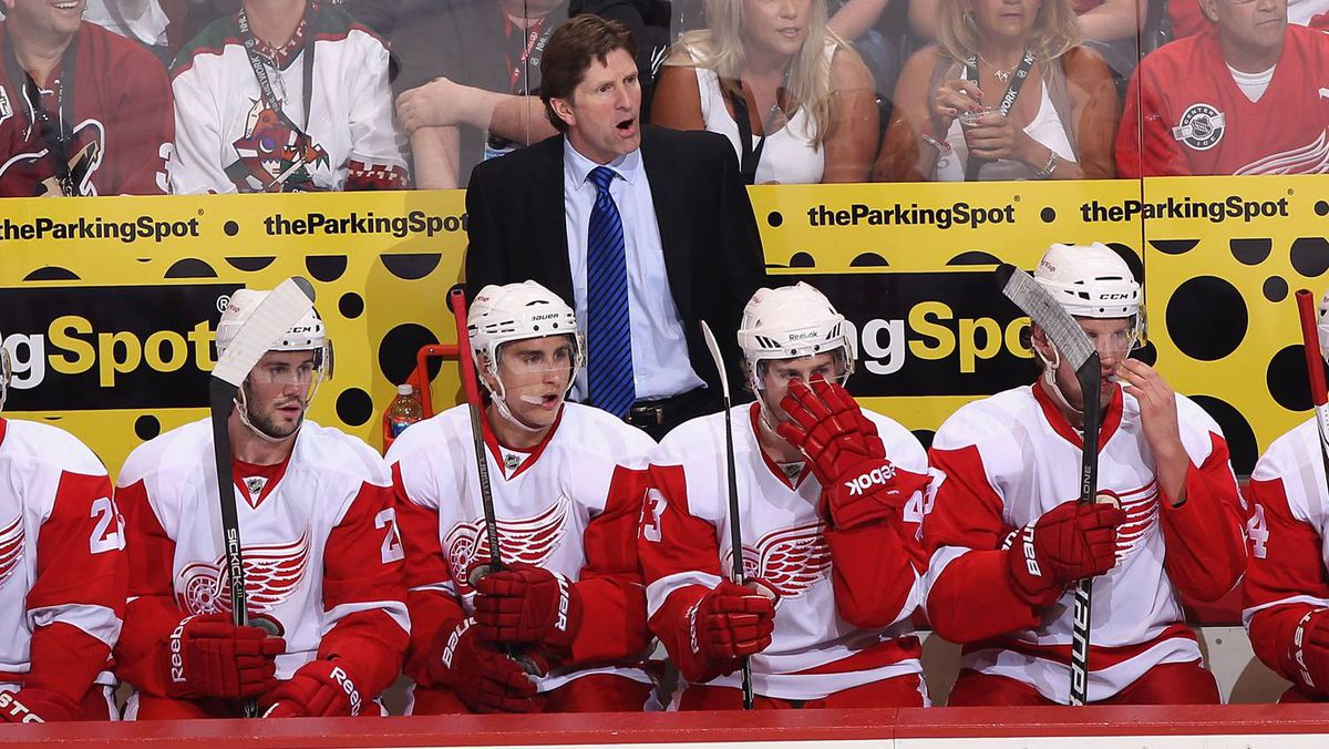 Head coach Mike Babcock of the Detroit Red Wings reacts on the bench in Game 4 of the Western Conference Quarter-finals against the Phoenix Coyotes.