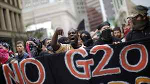 Demonstrators march in protest at the G20 Summit in Pittsburgh on Sept. 25, 2009. Carlos Barria/Reuters