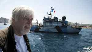 President of the Sea Shepherd Conservation Society, Paul Watson, answers questions while sailing aboard a trimaran off the harbor of La Ciotat, southern France, May 25, 2011.