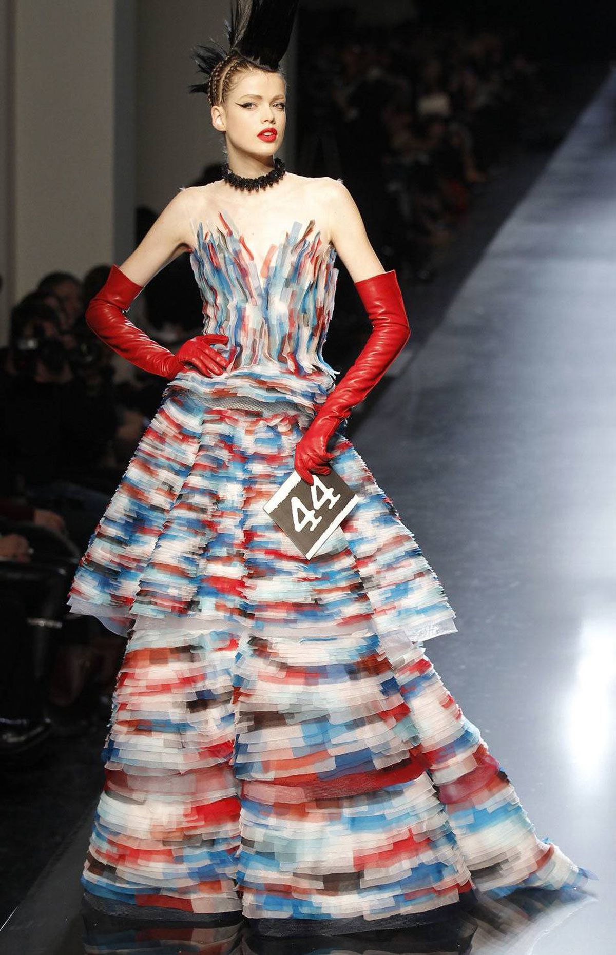 """Curatorial sound bite Gaultier: """"I'm not a fashionista but I was touched by Jean Paul Gaultier ... He is so discreet and humble. The first impression is that he's an enfant terrible, but he's more than that. He's more than Breton stripes and corsets."""" -- Natalie Bondil"""