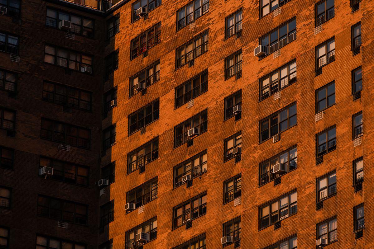 Sunlight falls on Ebbett's Field, a rent-regulated housing complex in Brooklyn's Crown Heights neighbourhood.