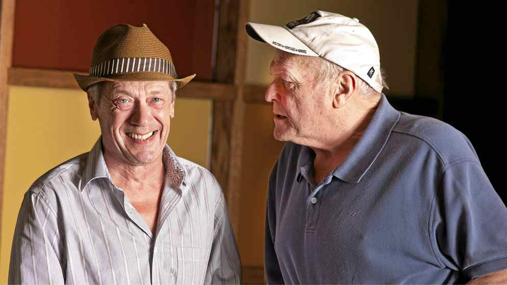 Actors Brian Dennehy, right, and Stephen Ouimette share a laugh at the Stratford Festival in Stratford, Ont., August 2, 2011. The two veteran actors share the stage in the festival's productions of 12th Night and The Homecoming this season.