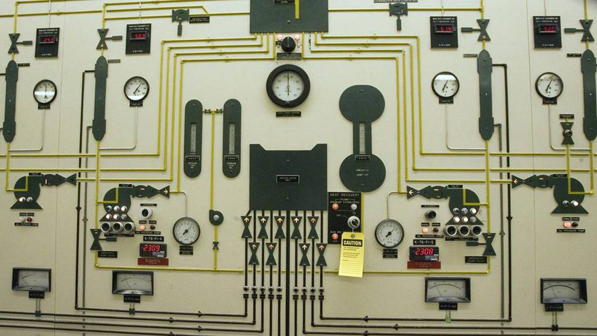Gauges of the control room of Atomic Energy Canada Limited plant in Chalk River, Ont.