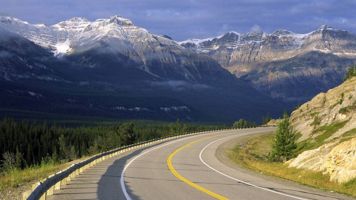 Road in Canadian Rocky Mountains, Banff National Park, Alberta.