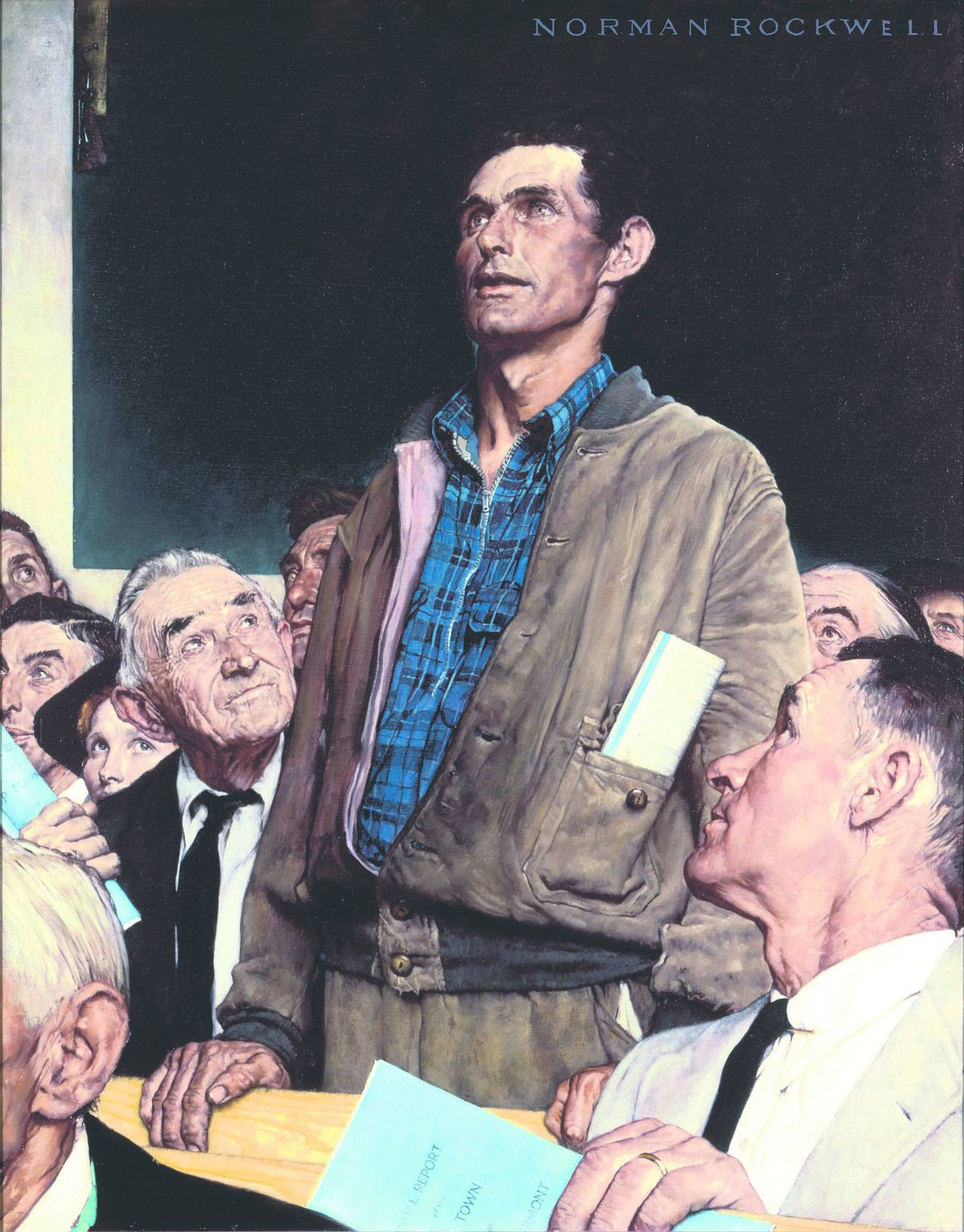 Freedom of Speech Norman Rockwell, 1943 War bond poster. Story illustration for The Saturday Evening Post, February 20, 1943.