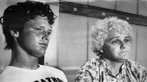 Runner Terry Fox holds his mother, Betty Fox's hand while being interviewed after his Marathon of Hope run ended in Thunder Bay, Ontario.