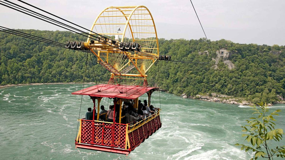 Peer into the whirling gorge below from the Whirlpool Aero car in Niagara Falls.