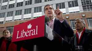 Liberal Leader Michael Ignatieff defends gun control outside a Vancouver police station on April 26, 2011.