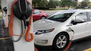 Chevrolet Volt electric vehicles are parked at solar-powered electric charging stations designed by Sunlogics in the parking lot of General Motors Co's assembly plant in Hamtramck, Mich. GM has acknowledged it would miss its target of selling 10,000 Volts in 2011.