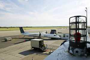 A Porter plane sits at Toronto's island airport.
