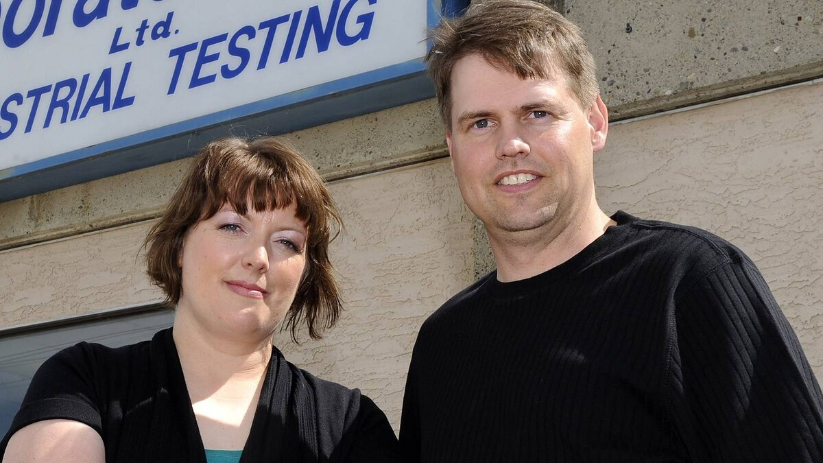 Angela Quinton, left, and husband Justin Quinton outside Sandberg Labs in Lethbridge, Alta.