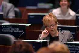 Shelley Carroll, City Councillor for Ward 33, Don Valley East and Toronto's Budget Chief during the 2007 Budget Debate in the Counsel Chambers of Toronto City Hall in Toronto. 23/04/07