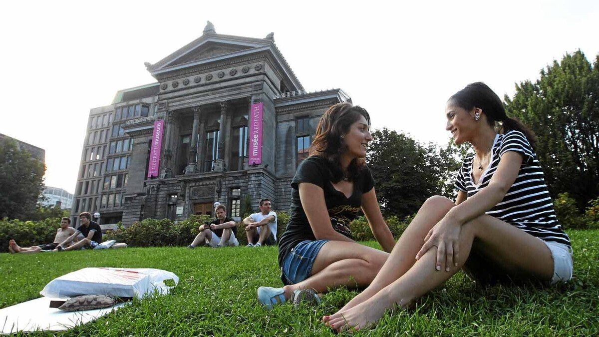 McGill third year students Natalie Arshat and Ana Dokoba (L) talk together on McGill grounds on September 4, 2011.