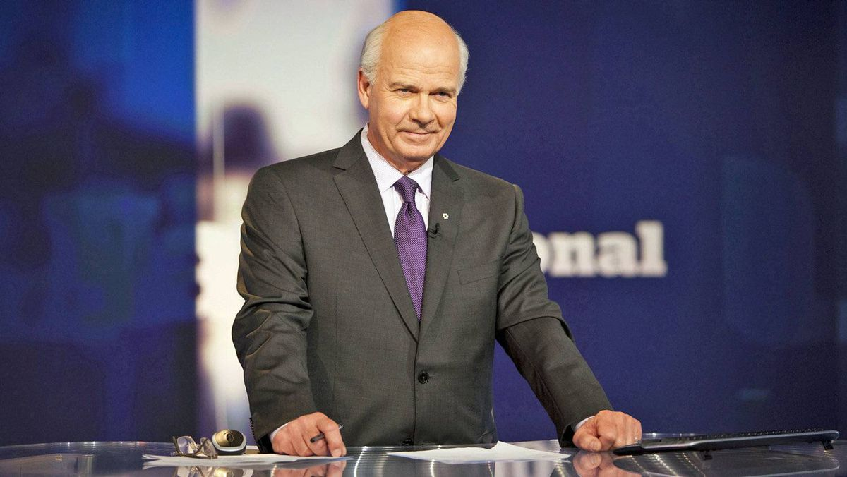 Peter Mansbridge prepares to deliver the news on The National after the launch of a revamped CBC News Network in 2009.