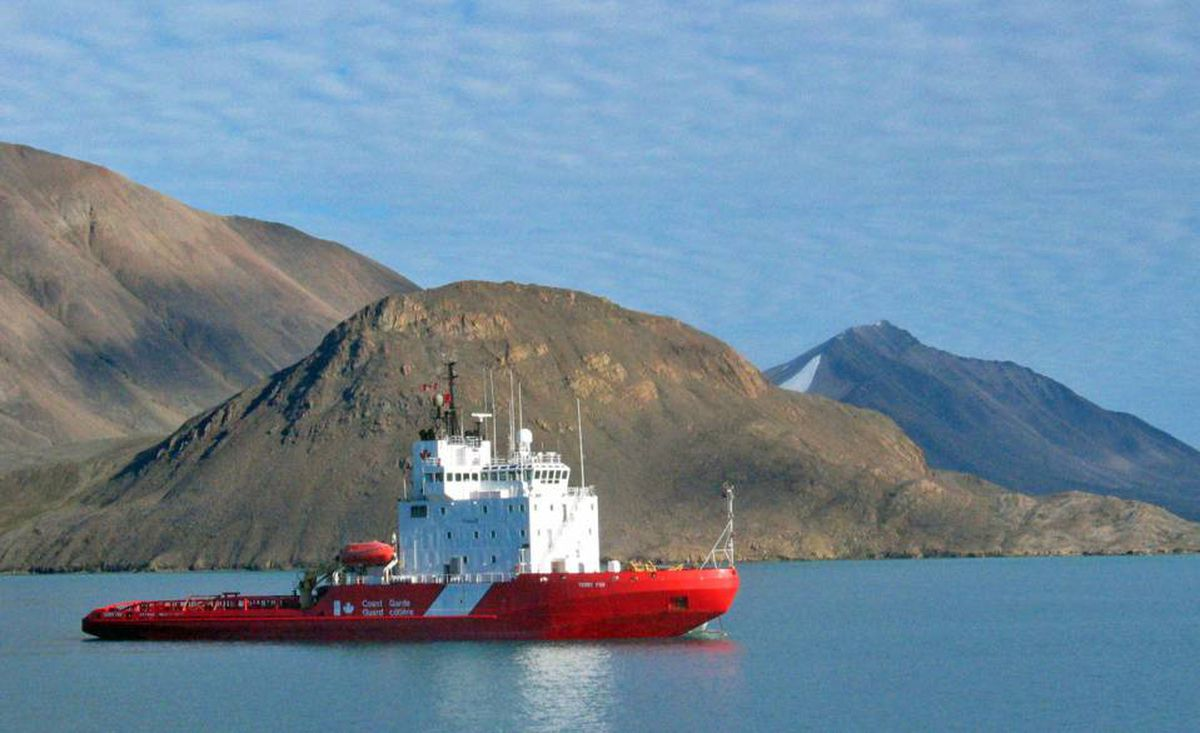 The Coast Guard icebreaker Terry Fox sits in the waters of Lancaster Sound, Nunavut, at the eastern gates of the Northwest Passage, in 2006.