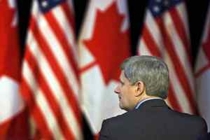 Prime Minister Stephen Harper attends the opening of a new U.S. border crossing in St. Stephen, N.B., on Friday, Jan. 8, 2010.