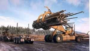 A West Fraser grappler at work, Hinton, Alta. West Fraser is aiming for more exports to China. West Fraser Photo