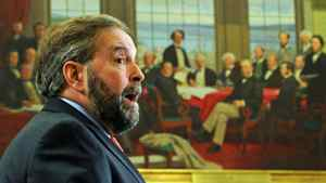 Opposition Leader Thomas Mulcair addresses the NDP on Parliament Hill on May 2, 2012.