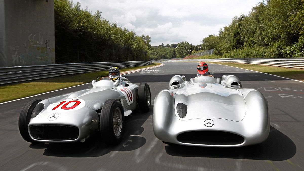 The open wheel and closed wheel versions of the Mercedes-Benz W196 Grand Prix cars.
