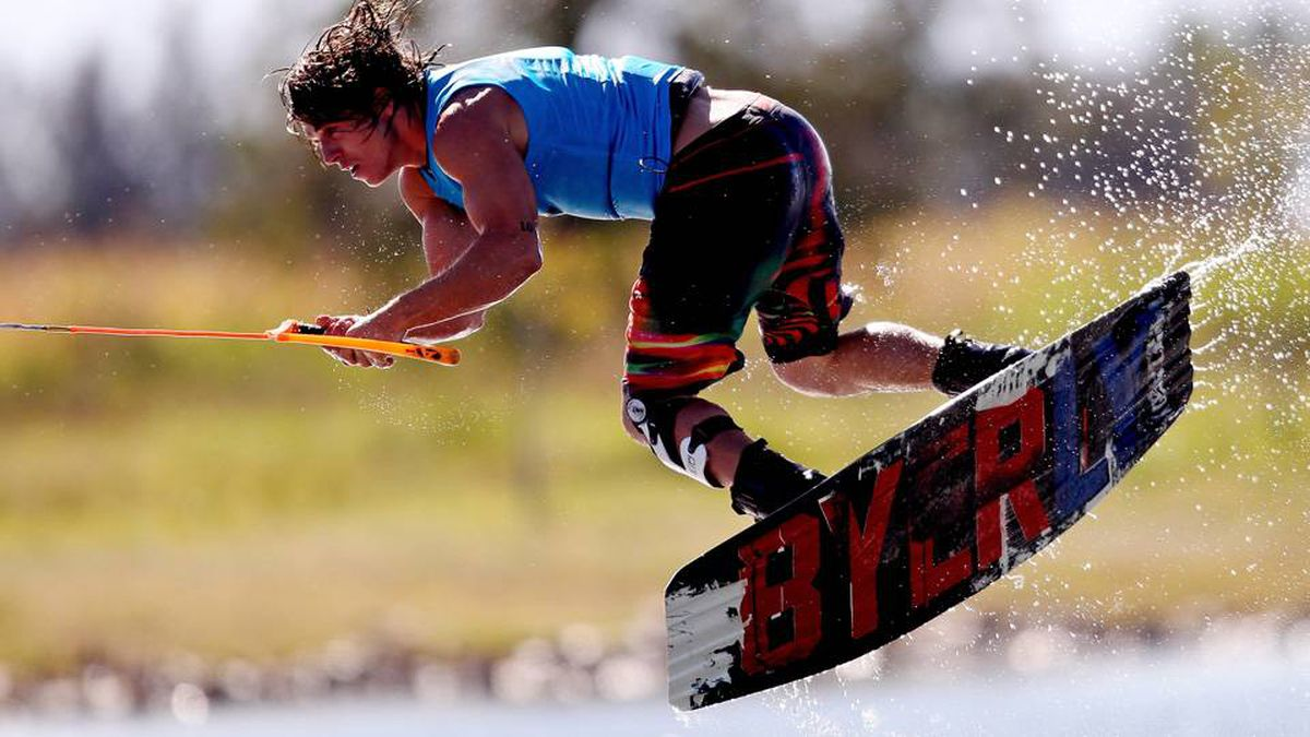 Aaron Rathy of Canada in action during the Men's Wakeboard at Boca Laguna Water Ski Club during Day Eight of the Pan American Games.