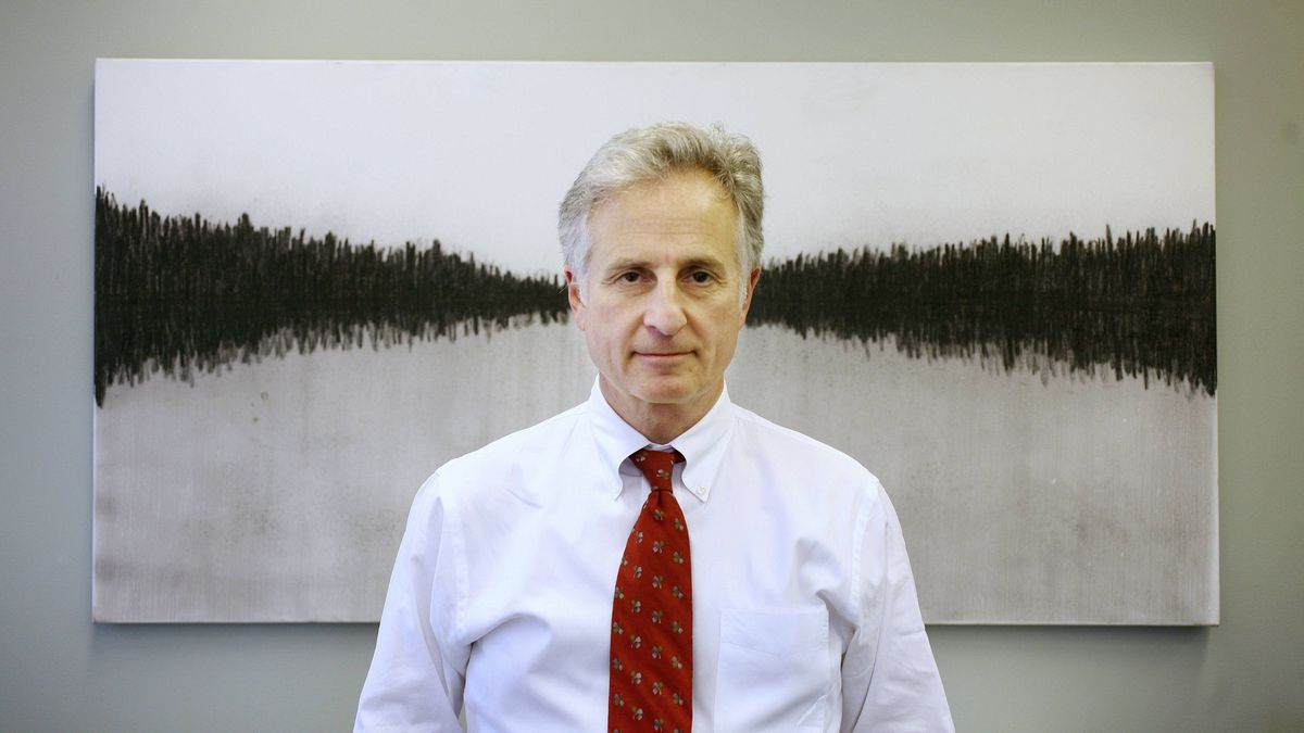 May 14, 2008 - Portrait of Dr. David Goldbloom in front of a painting done by the artist named Lava. Lava is an artist with Workman Arts, a CAMH supported program, where those affected by mental illness can express themselves through visual and theatrical arts.