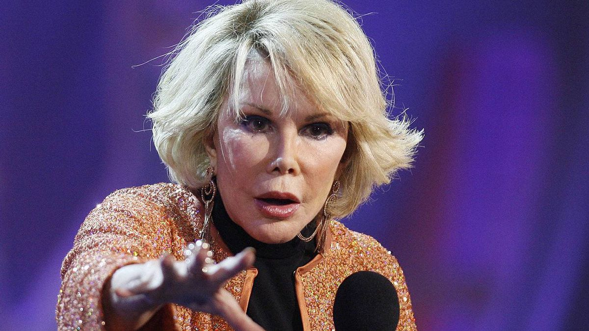 Joan Rivers stands up at the River Rock on Saturday.
