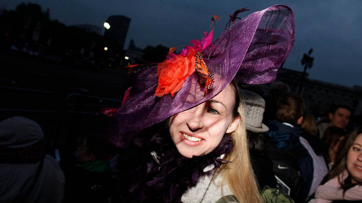 Christine Peckham from London wears a fancy hat along the Royal Wedding route in London Friday, April, 29, 2011.