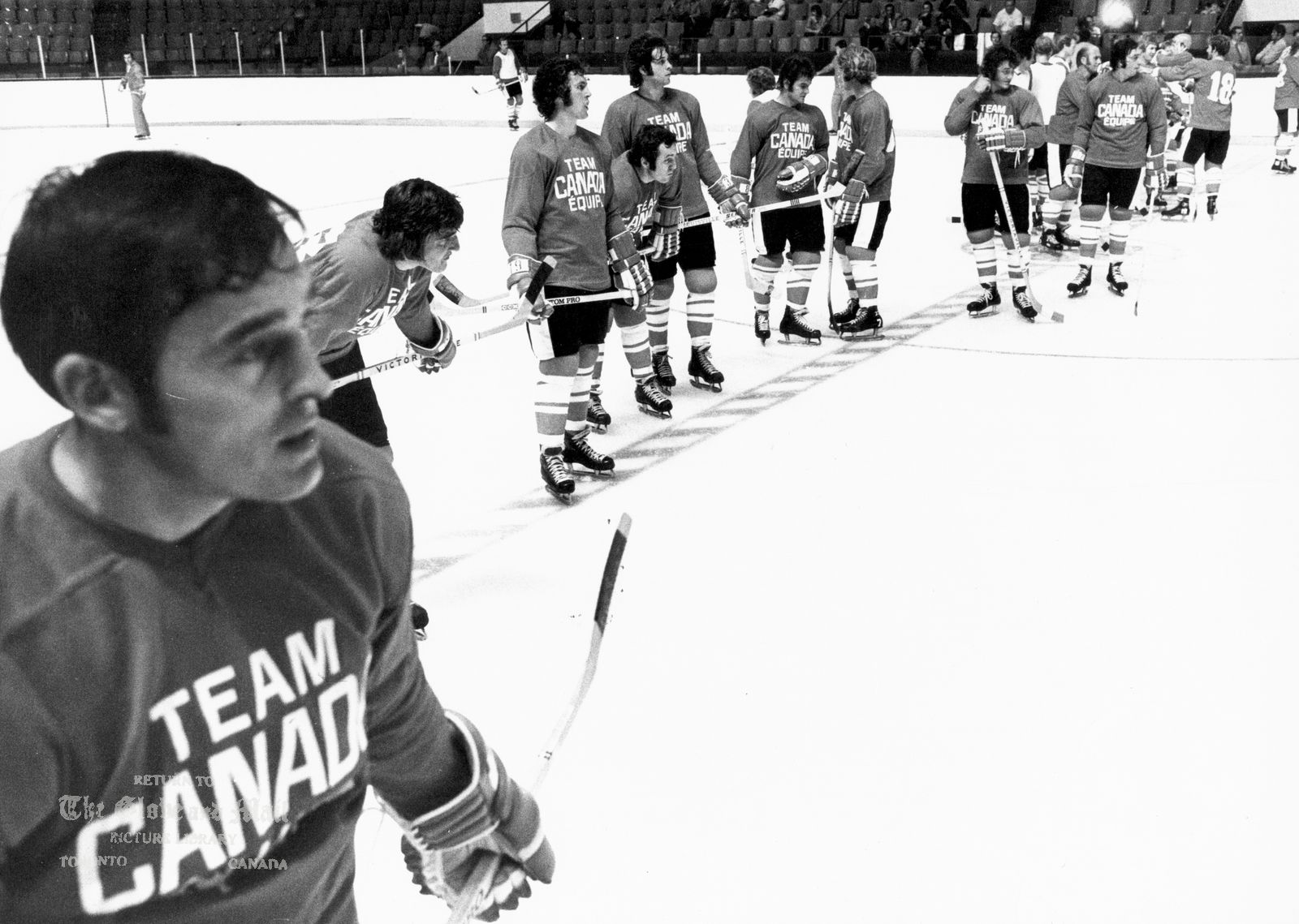 AUGUST 14, 1972 -- TORONTO -- TEAM CANADA TRAINING CAMP -- Team Canada members during first practice session at Maple Leaf Gardens in Toronto on August 14, 1972. Series against Russia starts Sept. 2, 1972 in Montreal. Photo by Barrie Davis / The Globe and Mail. Not published.