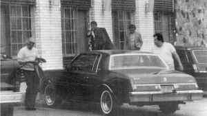 This surveillance photo of reputed organized crime figures Gerlando Sciascia, left, Vito Rizzuto, center left, Giovanni Liggamari, center right and Joseph Massino, taken on May 6, 1981 outside the Capri Motor Lodge in the Bronx borough of New York, was released by the Justice Department in New York, Tuesday, Jan. 20, 2004. Law-enforcement officials unsealed a 20 count indictment that charged 27 members and associates of the Bonanno crime family with murder, conspiracy and other crimes.