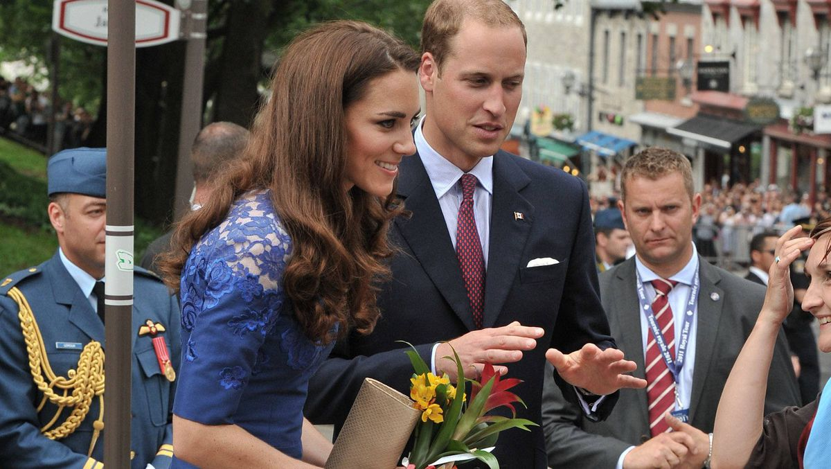 Prince William, Duke of Cambridge and Catherine, Duchess of Cambridge, attend a Freedom of the City Ceremony outside City Hall on July 3, 2011 in Quebec.