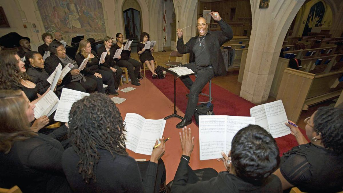 Brainerd Blyden-Taylor, director of the Nathaniel Dett Chorale rehearses with his Toronto choral group on October 7, 2009.
