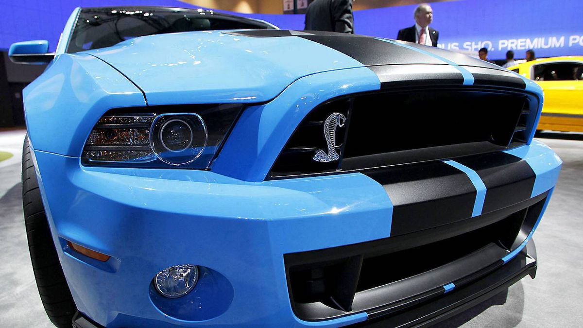 The front grille of the 2013 Ford Mustang Shelby GT500 at the LA Auto Show