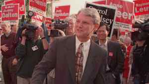 B.C. Liberal Leader Gordon Campbell arrives at a Vancouver television station for an election debate in 1996. The Canadian Press