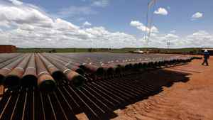 Sections of pipe are stored at a Pacific Rubiales field in eastern Colombia.