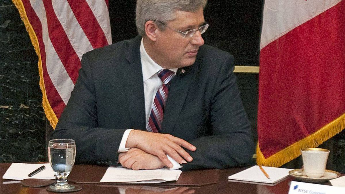 Prime Minister Stephen Harper takes part in a roundtable discussion at the New York Stock Exchange on Sept. 21, 2011.