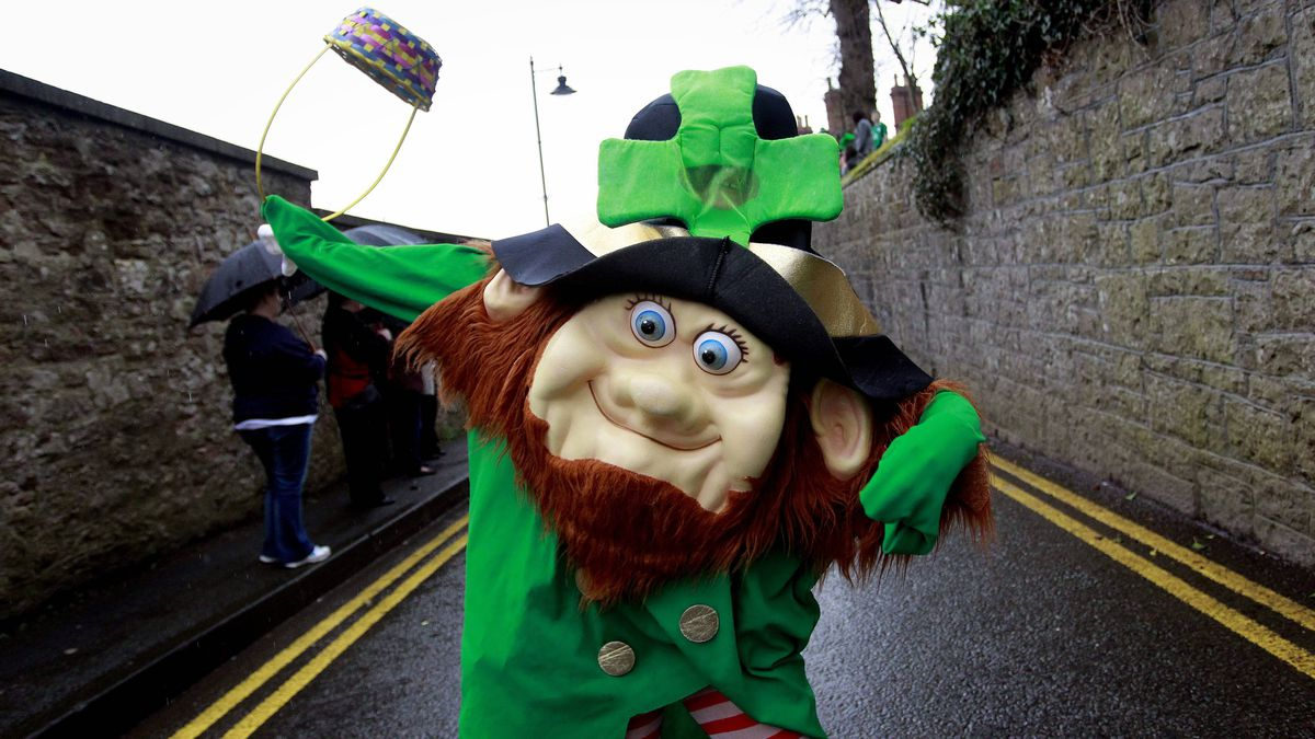 A leprechaun joins the St. Patrick's Day parade in Armagh, Northern Ireland, on Saturday.