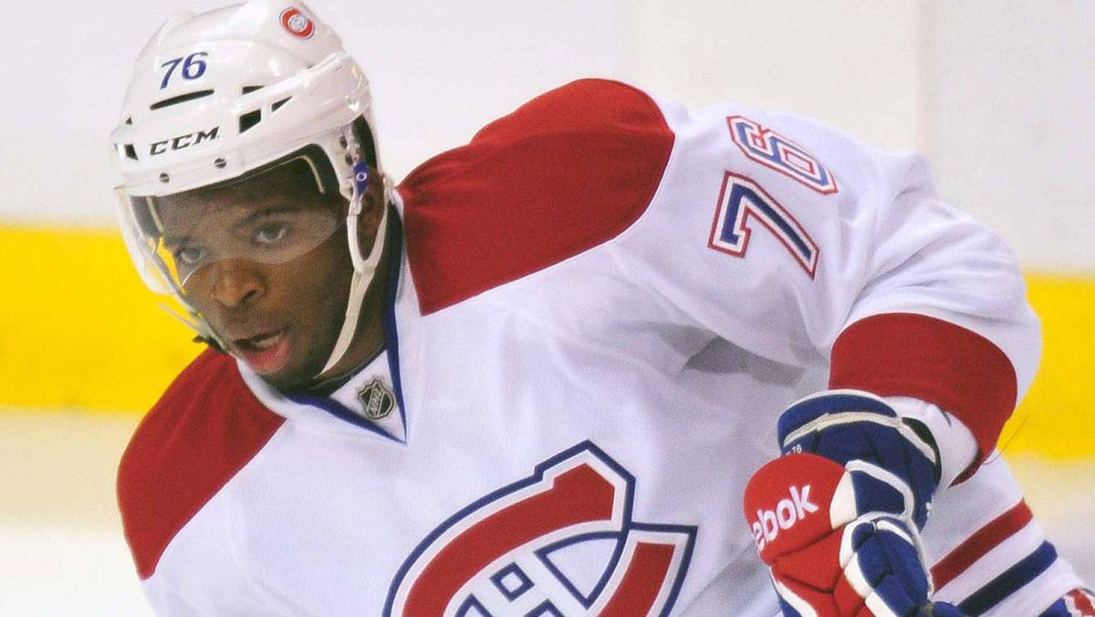 Montreal Canadiens defenseman P.K. Subban warms up ahead of Saturday's game.Steve Mitchell-US PRESSWIRE