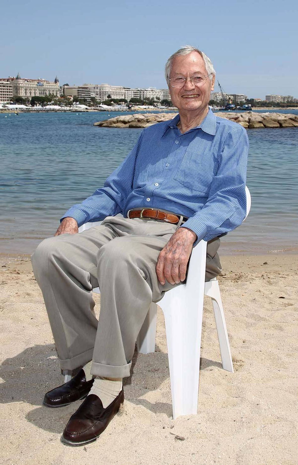 Famed director Roger Corman got up early and nabbed a great spot on the beach at the Cannes Film Festival on Wednesday.